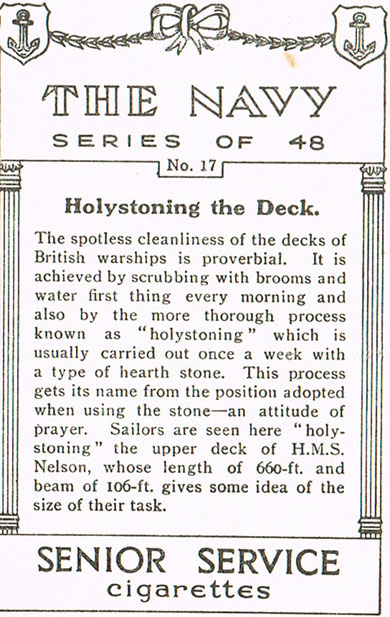 Holystoning the Deck