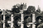 Hereford. The bridge over the Wye and Cathedral