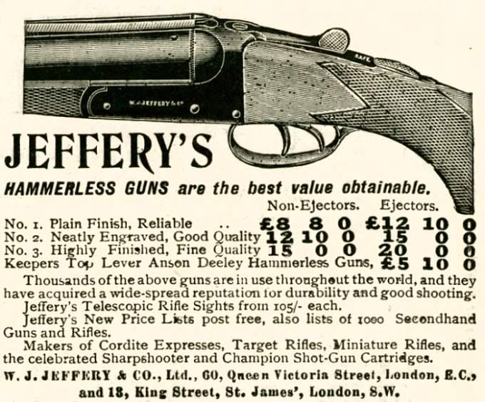 Jeffery's Hammerless Guns