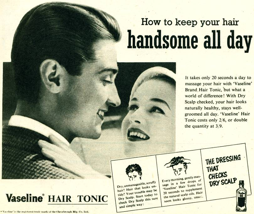 Men Hair Tonic 1950s: Vaseline Hair Tonic