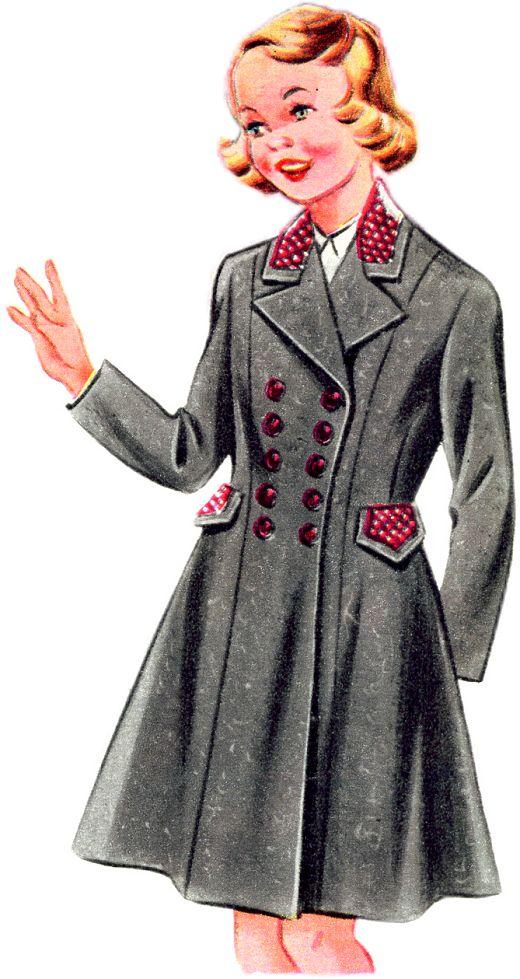 Velveteen Trimmed Woollen Coat