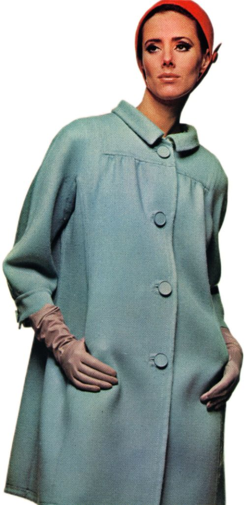 Patou High-Yoked Coat with Cuffed Kimono Sleeves